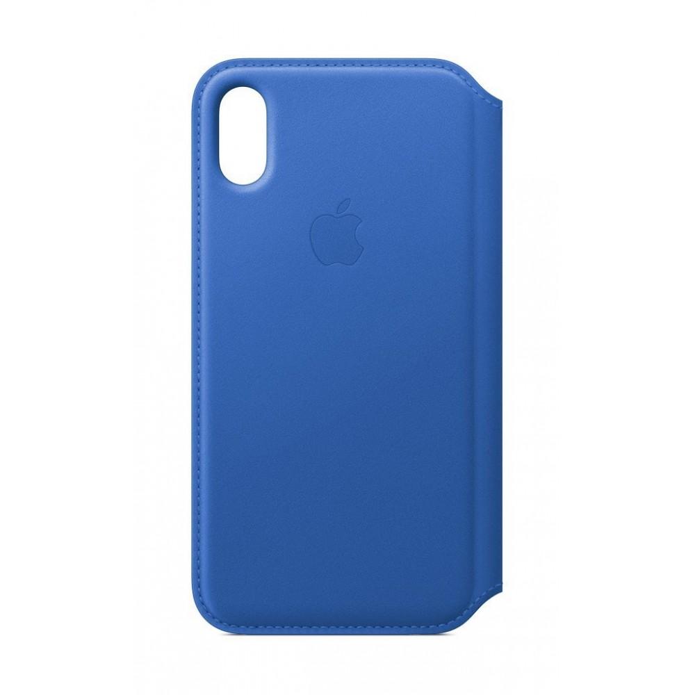 Custodia Apple Folio In Pelle Per iPhone X - Blu Elettrico