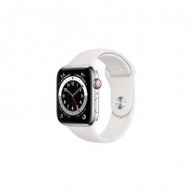 WATCH SERIE 6 GPS + CELLULAR 44MM ACCIAIO ARGENTO - WHITE SPORT BAND
