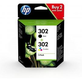 Confezione da 2 cartucce d'inchiostro nero/tricromia originali HP 302
